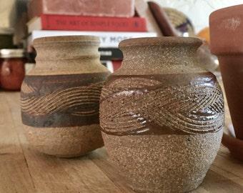 "Pair of southwestern style ceramic bud vases // pottery mini vase // 2"" x 3"""