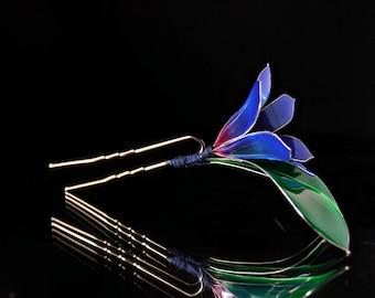 hair aceesories for women blue campanula hair pin kanzashi with  swarovski crystal,hair accessories, crystal hair clip