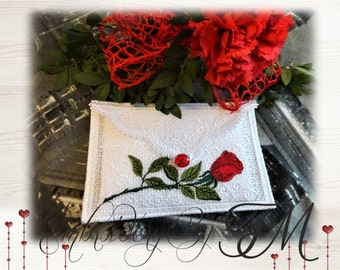 Lacy envelope with rose /5x7 hoop/ very easy