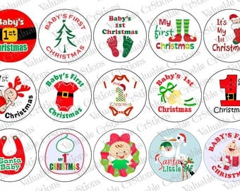 "Babys First Christmas Bottlecap Images, 1"" Circle Images, 4x6 Collage Sheet, Santa Images, Digital Collage Sheet, Cupcake Toppers Reindeer"