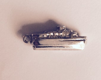 Ferry boat sterling silver charm vintage #529