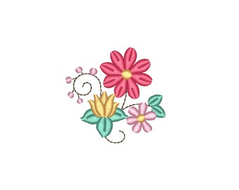 Mini Flowers - Small Flower Bunch - Machine Embroidery Design. 3 sizes. Instant download
