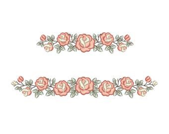 Rose Border machine embroidery design - Floral border embroidery. 2 sizes. Instant download