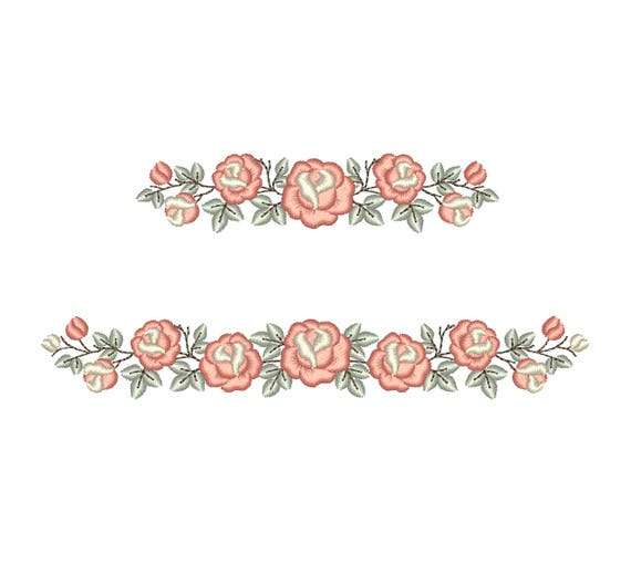 Rose border machine embroidery design floral