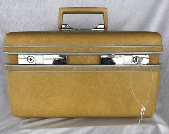 Yellow Gold vintage train travel case |sears courier | train trunk | vintage suitcase, vintage luggage, carry on,  decor, caboodle, retro