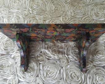 Up cycled Wall shelf, boho shelf, bohemian shelf, small shelf, decorative shelf decoupaged shelf, floral print,