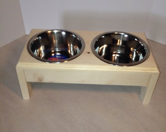 Elevated Pet Feeder + 2(4 cup) Stainless Steel Dishes For Dog,Wooden,Handmade
