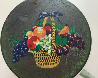 Unique Vintage glass jar with Metal Lid/ Fruit Motif/Round Jelly or Jam Jar