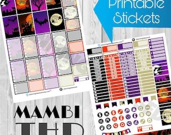 SALE 25% OFF/ The Happy Planner Halloween printable stickers / happy planner printable stickers / halloween printable stickers