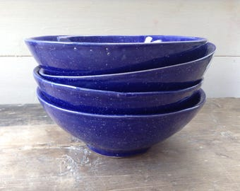 Handmade ceramic bowl blue with white speckles perfect for cereal, salad, soup, rice, noodles and desserts. Contemporary pottery