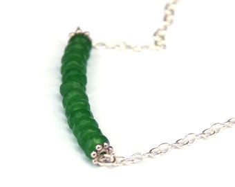 Emerald necklace - Bar necklace - Genuine gemstones - May birthstone - Heart chakra - Sterling silver