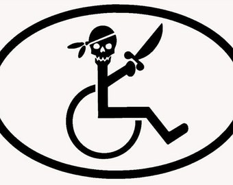 Pirate wheel chair Decal