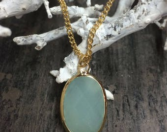 Gold-plated chain Stainless Steel with Crystal glass pendant Crysolite Green Opal