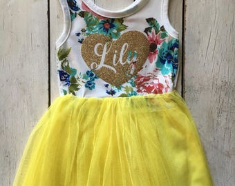 Free Shipping! Personalized Floral Tutu Dress