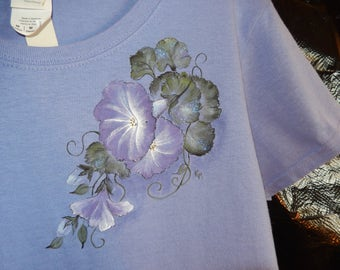 Hand-painted Morning Glories on Lavender T-Shirt