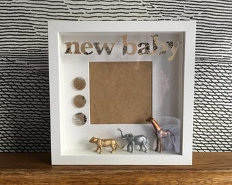 New baby picture photo frame - with animals - can be personalised