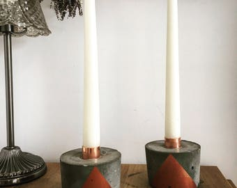 Copper and Concrete Dinner Candle Holder