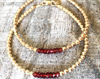 Faceted Garnet Gemstones with Gold Filled Beads/Stacking Bracelet/Boho/Gypsy