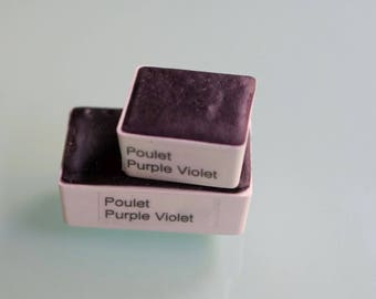 Handcrafted artist watercolor paint HALF and WHOLE pan Poulet Purple Violet watercolors