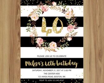 40th birthday invitation Watercolor Flower boho Stripe Gold Glitter for women- Surprise 40th birthday invite PY04