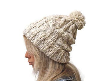 Pom Pom Hat, Knit Beanie hat, Gift for her, oatmeal hat, Rolled brim hat ,Winter Hat, Women hat, knit cable hat