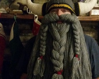 Hand Crocheted Viking Dwarf Battle Helmet with Detachable Beard