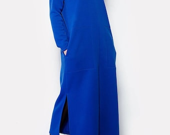Oversized royal blue tricot maxi dress with pockets/full sleeve winter maxi dress/warm maxi dress/long sleeves maxi dress/casual maxi dress