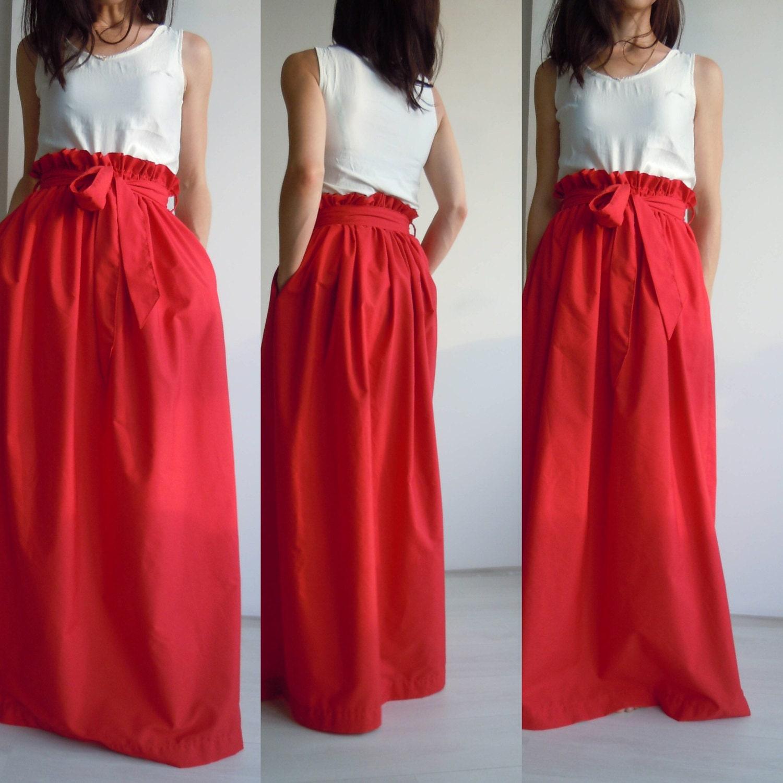 Red maxi skirt/High waisted cotton maxi skirt/Long skirt with