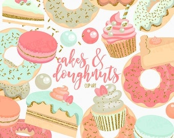 Cake and Doughnuts Clip Art