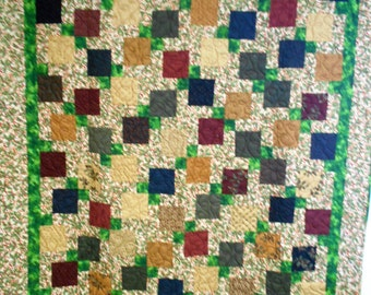 """Handmade Twin/Throw Size Quilt, Christmas Holly Quilt 64"""" x 76"""""""