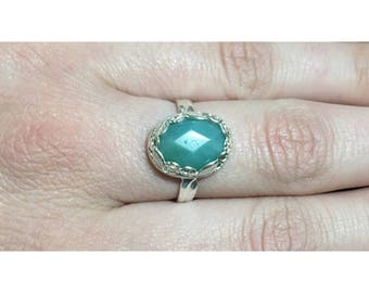 Faceted Amazonite and 925 Sterling Silver Botanical Ring | Size 8