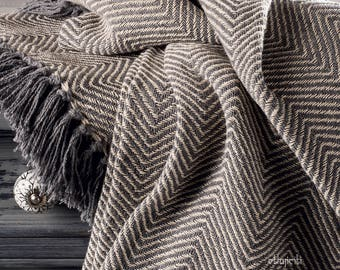 Herringbone Grey Cotton Chevron Sofa Settee Bedspread Blanket Throw - 2 Sizes Single Double Bed Throw Arm Chair Covers
