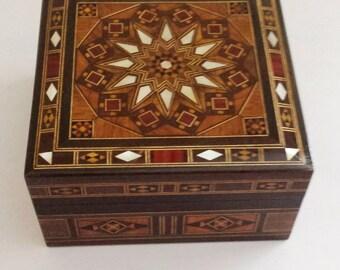 Wooden Jewelry Box, Small Jewelry box, Jewelry box, Marquetry Box, Syrian Mosaic Box, trinket box, Keepsake Box, Storage Box, Wooden Decor
