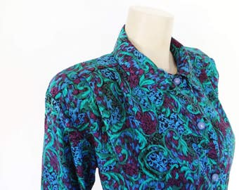 Free Global Shipping* Vintage Blouse, Paisley, UK14, Secretary Blouse, Ladies Cothing, Green Blouse, Aqua, Clothing, Ladies Shirt, Boho