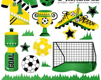 Soccer Scorer Digital Clipart - Personal & Commercial Use - Soccer Clipart, Sports Graphics, Boys Football Ball Images