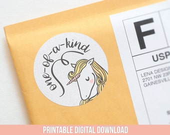 Unicorn Stickers - Printable Stickers - One of a Kind - Handmade Packaging Ideas - Packaging Stickers - Product Label - Cute Stickers