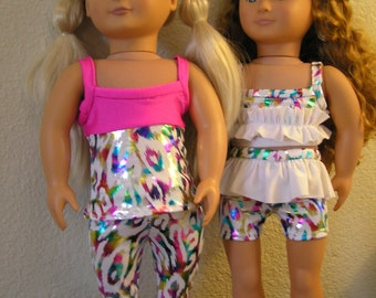 Two Foil Leopard Spot Mix and Match Dance Outfits for American Girl and 18 inch Dolls