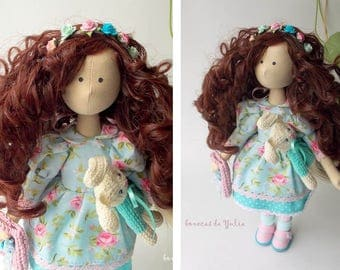 Cloth collectible brunette curly doll Soft doll Cotton doll Girl doll Collection decorative doll Gift for girl Doll with blue floral dress