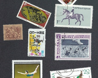 Selection of horse-themed postage stamps