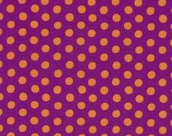 """By The HALF YARD - Kaffe Fassett by Rowan of Westminster Fibers, Pattern #GP70 Spots - Magenta. Orange 3/8"""" Spots on Purple"""