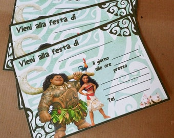 Invitations for party 10 pieces inspired by Oceania V Moana printed on cardstock 210 gr to be filled with data about your party