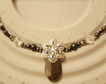 Hematite and Swarovski Necklace