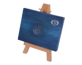 Blue Third Eye Chakra minature painting, mini art, spiritual wall art, healing art, reiki art, meditation room, therapy room, yoga studio