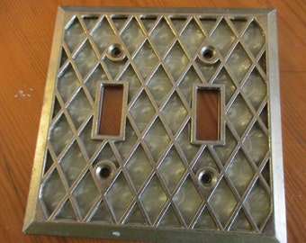 Vintage Brass Pearl Lattice Style Double Light Switch Cover