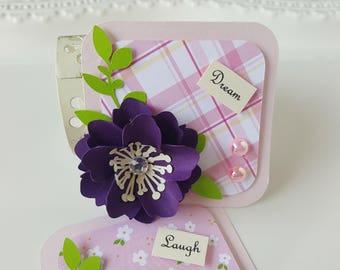 Paper Embellishments - Scrapbook Embellishments - Paper Piecing - Paper Flower Embellishment - Fence Post - Purple