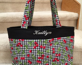 Tote, black and white check with red cherries, handmade