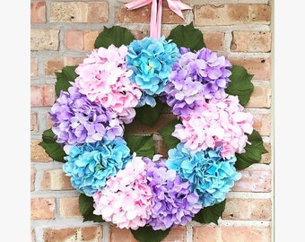 Pink, Blue and Purple Hydrangea Wreath