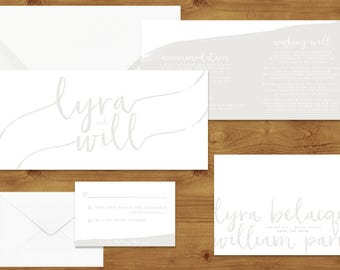 Subtle Powder White Wedding Invitations Stationery Set - Printed or Digital Download - White Wedding - Neutral Wedding - Wedding Printable