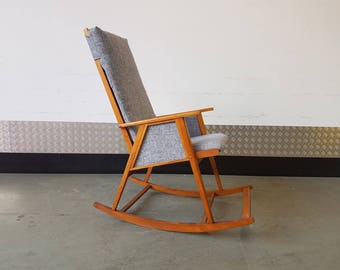 Scandinavian Rocking Chair Mid Century, New Upholstery