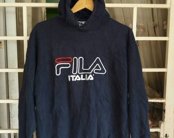 Vintage Fila hoodie spellout embroidery/big logo/black/large/sportwear
